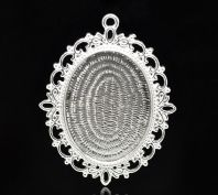 1 Silver Plated Cameo Frame Settings Pendants 61x48mm(Fit 40.2x32mm)